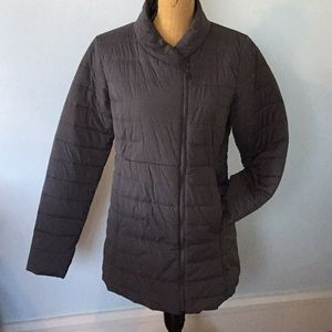 North Face mid length coat with asymmetrical zip